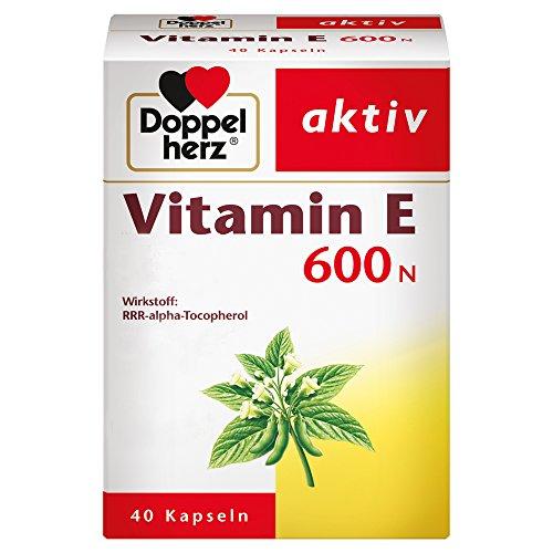 Doppelherz Vitamin E 600 N Weichkapseln - Arzneimittel pflanzlich und hochdosiert - Vitamin E zur Leistungssteigerung - 1 x 40 Kapseln