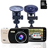 """Volador Dash Cam 1080P, Caméra de Voiture Caméra Embarquée, 4 """" Full HD Caméscope Numérique, 170 °Grand-angle, Capteur-G, Détecteur de Mouvement, 16 Go Carte MicroSD Inclus"""