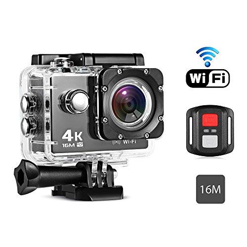 170 degrés Caméra imperméable à l'action Caméscope WiFi avec Télécommande, Caméra à action Etanche 4K à Distance pour les Sports