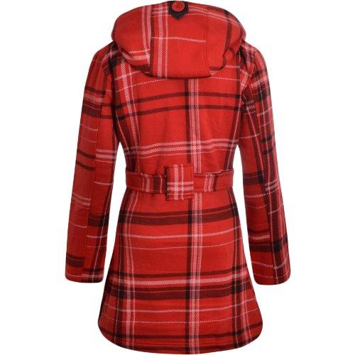 Flirty Wardrobe Veste à capuche avec boutons et ceinture Femme RED CHECK PRINT