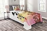 ABAKUHAUS Bambus Tagesdecke Set, Japanischer Bambus Asiatische, Set mit Kissenbezug Ohne verblassen, für Einselbetten 170 x 220 cm, Mehrfarbig