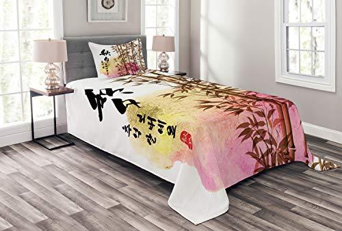 ABAKUHAUS Bambus Tagesdecke Set, Japanischer Bambus Asiatische, Set mit Kissenbezug Ohne verblassen, für Einselbetten 170 x 220 cm, Mehrfarbig -