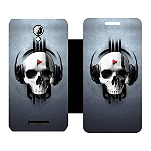 Skintice Designer Flip Cover with Vinyl wrap-around for Lenovo A5000, Design - Skull