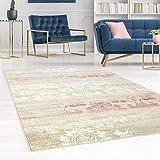 carpet city Teppich Flachflor Inspiration mit Floralen Muster, Ornamenten, Meliert in Beige, Creme, Pastell-Rosa für Wohnzimmer, Größe: 200x290 cm
