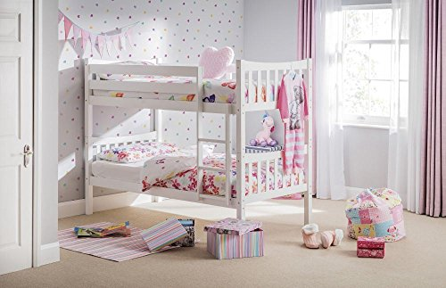 Happy Beds Zodiac Bunk Bed Kids Wooden White with 2 x Spring Mattresses 3' Single 90 x 190 cm