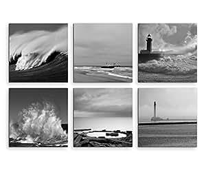 Assortimento di 6quadri moderni serie mai, 20x 20cm–bianco e nero faro Mare, Spiaggia