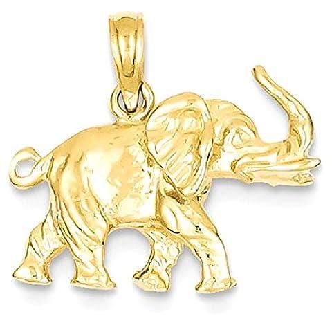 IceCarats 14k Yellow Gold 3 D Elephant Pendant Charm Necklace Animal