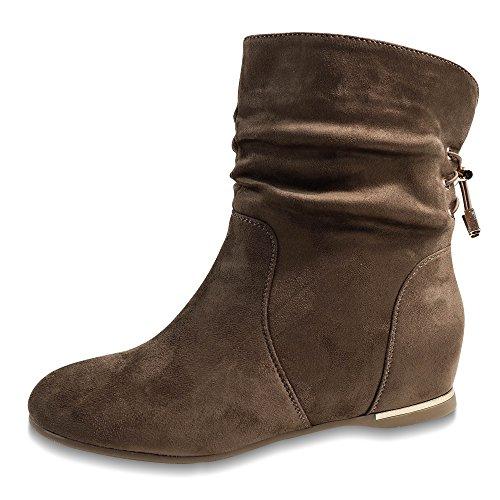 Damen Schlupfstiefel Stiefeletten Keilabsatz Boots gefüttert Stiefel ST313 Khaki iRQJV