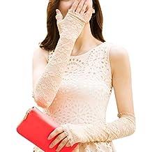 Mujeres al aire libre encaje sol UV protección guantes verano guantes largos de conducción, ...