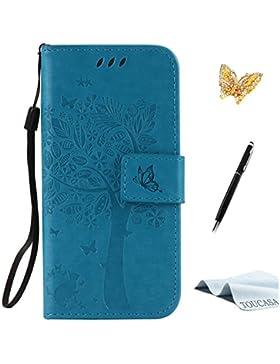 Microsoft Lumia 650 Nokia N650 Hülle, TOUCASA® Vintage/Retro Bookstyle Lederhülle Handyhülle PU Leder Flip Tasche...