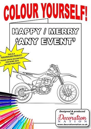Personalisierte Grußkarte mit Umschlag - ein lustiges Produkt für Kinder, um Familienmitglieder, Lehrer, Freunde zu machen - und komplett personalisiert für Sie. Motocross Bike