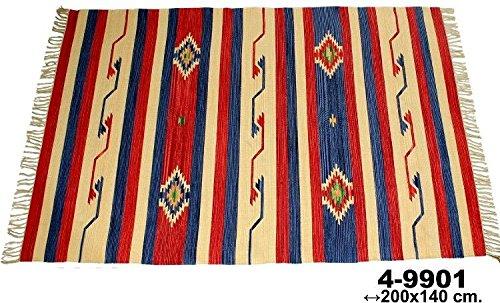 DonRegaloWeb - Alfombra kelim rectangular de algodón con dibujos y múltiples colores