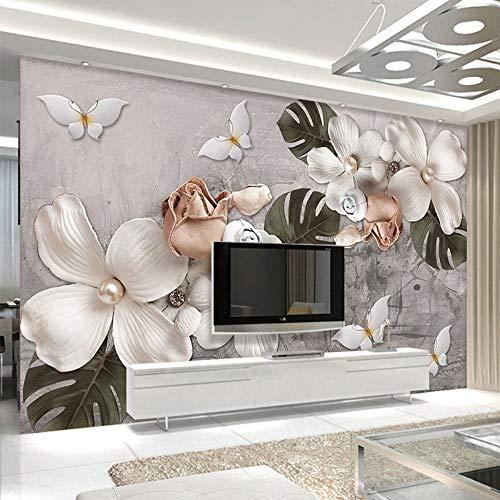 Tapete Wandbild 3D Retro Wandbild Blume Stereo Tapete Wohnzimmer Tv Sofa Galerie Kunst Wand Papier Für Wände Wohnkultur, 400 * 280 cm - Moderne Damast-galerie