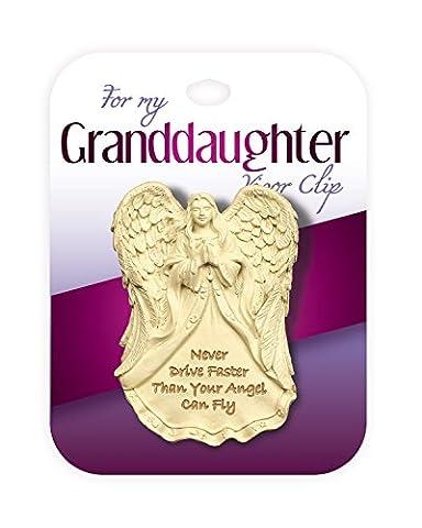 """""""Granddaughter Visor Clip"""" Schutzengel-Amulett für die Sonnenblende mit Clip, für die Enkeltochter mit englischer Schutzbotschaft """"Fahre nie schneller als dein Engel fliegen kann"""" von AngelStar"""
