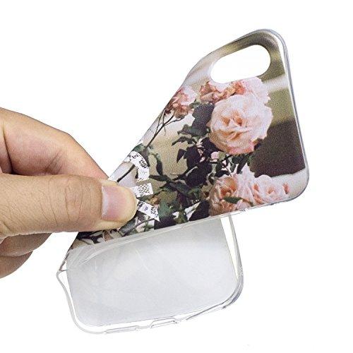 iPhone X Hülle, Voguecase Silikon Schutzhülle / Case / Cover / Hülle / TPU Gel Skin Handyhülle Premium Kratzfest TPU Durchsichtige Schutzhülle für Apple iPhone X(Weißer Leopard) + Gratis Universal Ein Kamelie
