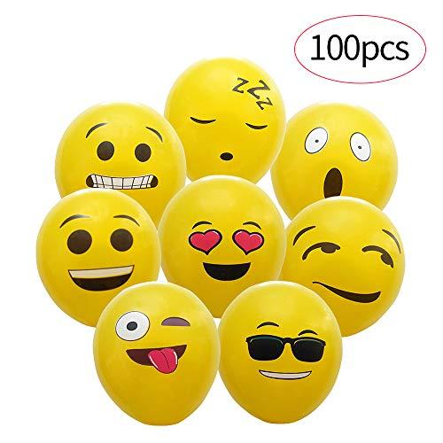 Yunfan 100 Piezas de Color Partido Globos de Fiesta para la Fiesta de Cumpleaños de la Boda - 12 Inch de Látex Globos (100 Emoji Globos)