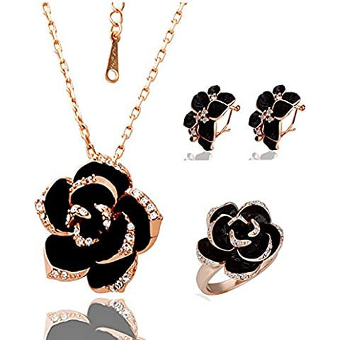 Il nuovo 18K fiore di disegno di rosa accessori oro delle donne tre pezzi
