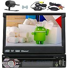 """7"""" pulgadas Android 1DIN radio auto de cuatro núcleos 6.0 Marshmallow Cadena de música multi-TFT-pantalla en el tablero de panel desmontable de coches reproductor de DVD con GPS, BT, RDS, Wi-Fi, pantalla táctil + mapa libre vista coche + Free cámara trasera + teledirigido"""