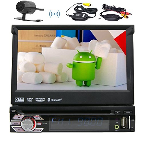 "7"" Zoll Android 1Din Auto Radio Quad-Core 6.0 Eibisch Stereo System Multi-TFT-Bildschirm In-Dash abnehmbare Panel-Auto-DVD-Spieler mit GPS, BT, RDS, WIFI, Touch Screen + Free Karte Auto + Free Rear"