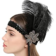 Las mujeres de la pluma de la vendimia casco fiesta de la boda diadema Aleta Negro banda de pelo de avestruz rhinestone caliente Indish