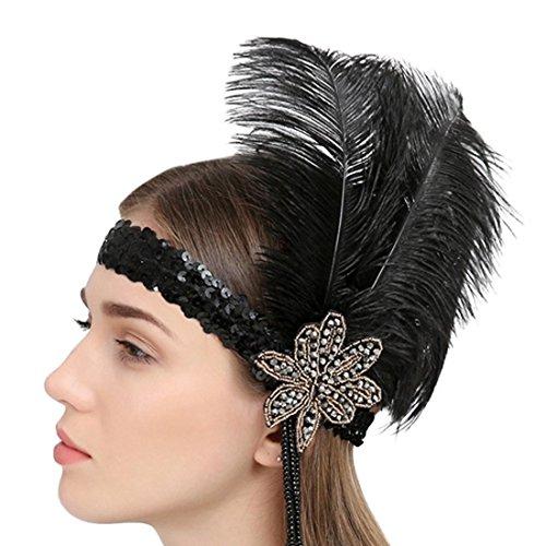 Flapper Kopfstück Schwarzes (Frauen Feder Kopfstück Weinlese Partei Hochzeits Stirnband Flapper Schwarz Strauß Rhinestone heißes Haar Band)