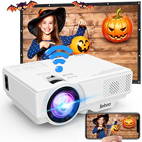 [WiFi Beamer] Jinhoo 4500 Lumens Wireless Beamer Unterstützt 1080P Full HD, Native 720P HD Mini WiFi Projektor Beamer Kompatibel mit Smartphone Tablet TV Stick Spielekonsole HDMI VGA USB TF, Weiß.