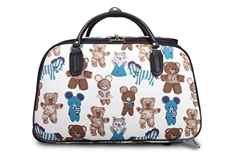 LeahWard® Damen Eule / Schmetterling Drucken Reisetasche Reisetasche Handgepäck Damen Wochenende Handtasche Auf Rädern Wagen CWS00308 CWS00308C BEIGE 49 x 31 x 26.5 cm