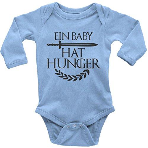 (Mikalino Babybody mit Spruch für Jungen Mädchen Unisex Langarm EIN Baby hat Hunger | handbedruckt in Deutschland | Handmade with Love, Farbe:Sky, Grösse:62)