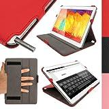 igadgitz Rojo Funda Carcasa Eco-Piel para Samsung Galaxy Note 10.1 2014 Edition SM-P600 | SM-P601 | SM-P605 & Tab Pro 10.1 SM-T520 | SM-T525 Tablet. Correa de Mano Integrado, Función Reposo/Activación + Protector de Pantalla