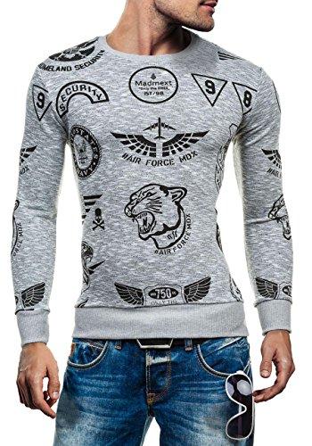 BOLF Herrenpullover Sweatshirt Sweatjacke Langarm Pullover MADMEXT 1226 Grau_1717