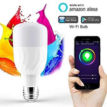 wlan birne smart led wifi lampe alexa birne wifi lampen 7w dimmbar mehrfarbig rgb led birne e27. Black Bedroom Furniture Sets. Home Design Ideas