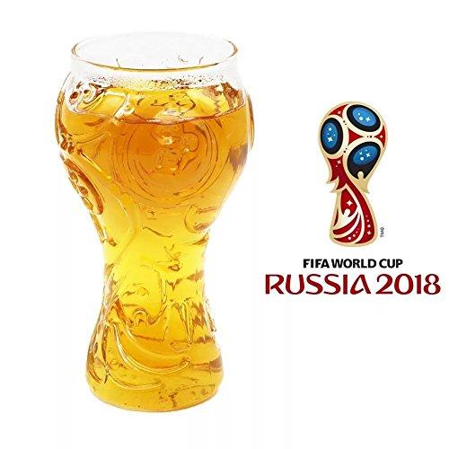 Hemore Bierkrug Glas 2018 Russland FIFA Fußball Welt Trophäe Form Glas Kultur Fußball für Fußballfan Familien Bar Club Partyangebot Camping Feier WM Bier Glas