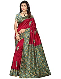 Pisara Women Kalamkari Print Poly Silk Saree With Blouse Piece,Red & Green Sari