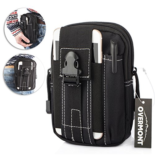 Tactical Waist Pack, Overmont Utility Gadget Pouch Oxford cloth Work Waist Bag Oxford cloth WorkArmy Military Small bags for Outdoor Hiking Camping Cycling (Black)