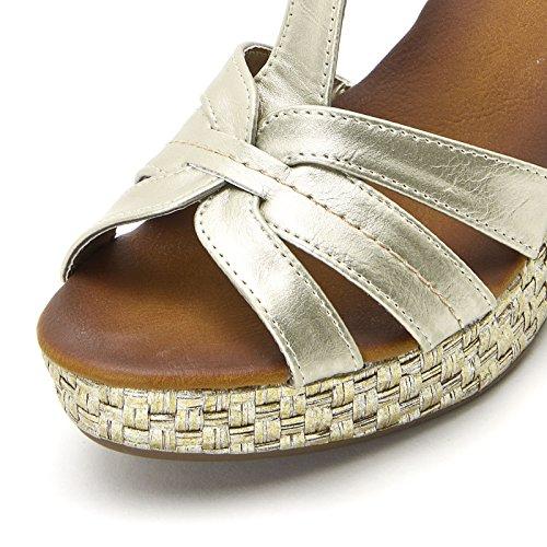 PRENDIMI by Scarpe&Scarpe - Schuhe mit Keilabsatz und Laminat-Effekt, mit Absätzen 10 cm Oro