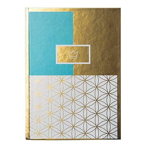 5, Deluxe Crown, 200 chamoisfarbene Blankoseiten, Spezialdruck mit Goldeffekt, Türkis/Gold/Weiß, 64296 ()