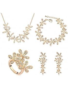 TAOTAOHAS Damen Schmuck-Sets Halskette Armband Ohrring Ringe mit Kristall Clear 18K 750 Gold Champagne, Lächeln...