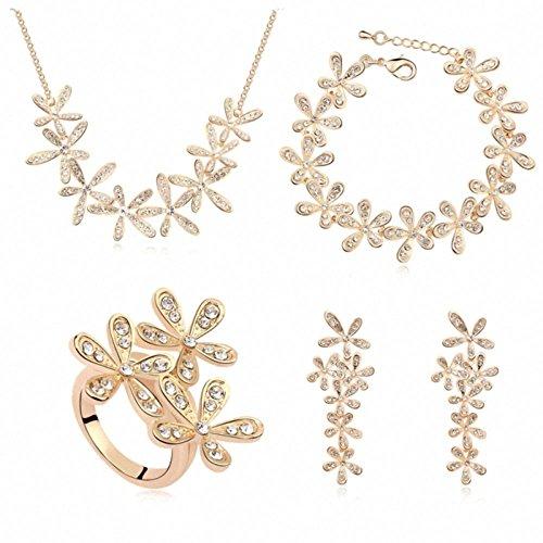 TAOTAOHAS Damen Schmuck-Sets Halskette Armband Ohrring Ringe mit Kristall Clear 18K 750 Gold Champagne, Lächeln wie eine Blume