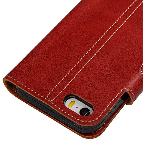 Etsue - Coque de téléphone pour iPhone 5/5S/SE,Etui en Cuir à Ouverture Vertical Rabattable ,extraordinaire Rabattable ultra Mince Housse en Cuir Case pour iPhone 5/5S/SE,Datura Stramonium Motif Gaufr Pure Rouge