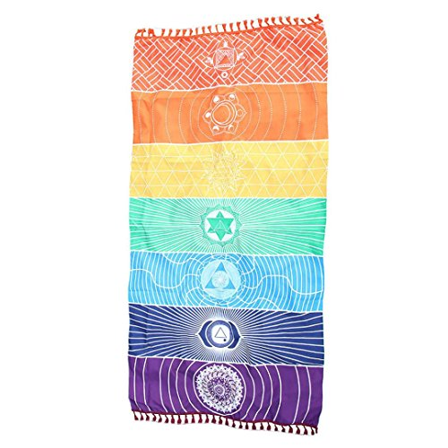 Coolster Regenbogen Multicolor Tapisserie Beach Bohemian Mat Wand Hängende Decke Yoga Handtuch Mat (Terry Plüsch Hose)