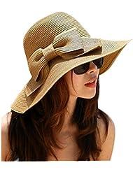 CITY été paille chapeau Summer Beach Bow Hat femelle soleil plage de Cap chapeau chapeau