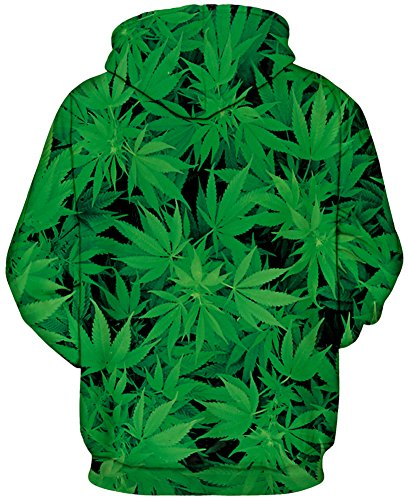 TDOLAH Herren Bunt Digitaldruck Kapuzenpullover 3D-Druck Hoodie Langarm Pullover Sweatshirts Cannabisblätter