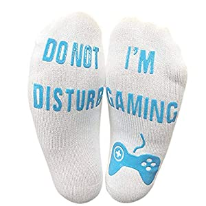 Zolimx Unisex Socken Herren Damen 'Do Not Disturb' Great Gamer Gift Letter Print Lustige Söckchen Baumwolle Kuschelsocken