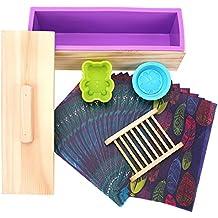 TOPQSC Molde de Jabón,caja rectangular,tapa de madera,fácil de desmoldar, Molde de silicona del trébol de cuatro hojas/1 molde de silicona de oso,soporte de madera,20 papeles aceitados DIY(B)