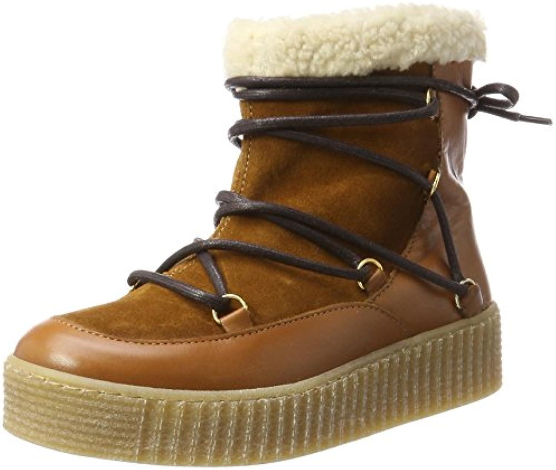 Pieces Pspaccia Leather Boot Cognac, Botas de Nieve para Mujer