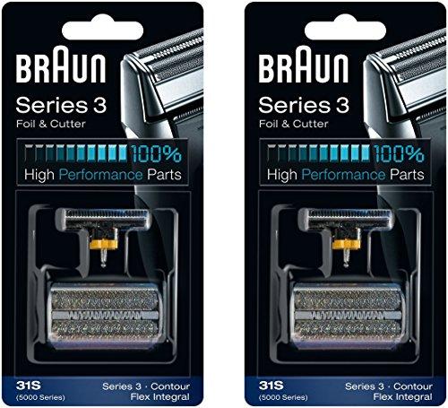 Braun 31S Serie 5000/6000 Contour Flex XP integraler Scherfolie & Cutter Head Ersatz Combi Pack, 2 Graf -