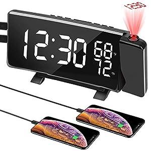 """PEYOU Projektionswecker, 7"""" LED FM Radiowecker mit Projektion, Temperatur und Luftfeuchtigkeit, Wecker Digital…"""