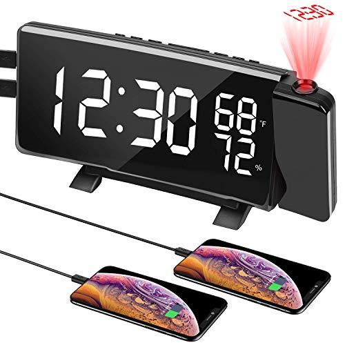 PEYOU Projektionswecker, 7\'\' LED FM Radiowecker mit Projektion, Temperatur und Luftfeuchtigkeit, Wecker Digital, Reisewecker, Tischuhr, Dual-Alarm, 4 Helligkeit, 9 \' Snooze, Kuckucksuhren