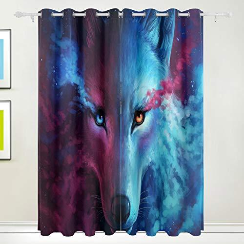 XiangHeFu Morden Blackout Vorhänge mit Tülle Oben Sternenhimmel Nebel Tier Wolf Vorhänge Set aus 2 Panels, jeweils 55W x 84L Zoll für Wohnzimmer Schlafzimmer Büro (84-zoll-dusche Vorhang Braun)