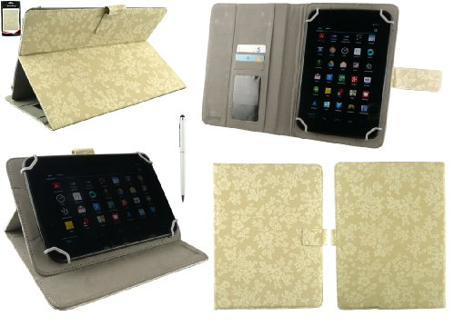 Emartbuy® AlpenTab 7 Zoll Tablet PC Universalbereich Vintage Floral Beige Multi Winkel Folio Executive Case Cover Wallet Hülle Schutzhülle mit Kartensteckplätze + Weiß 2 in 1 Eingabestift
